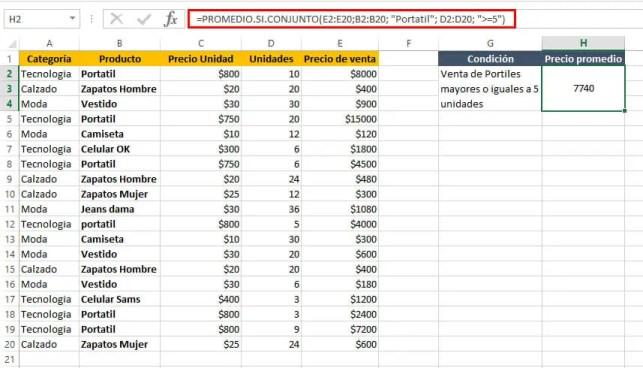 PROMEDIO.SI.CONJUNTO en Excel