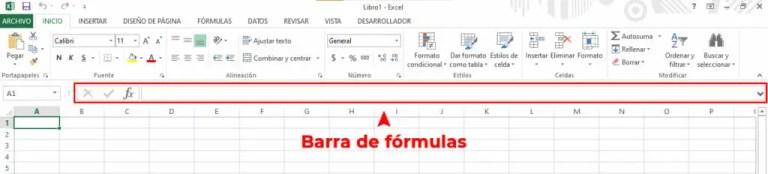 Barra de formulas en Excel