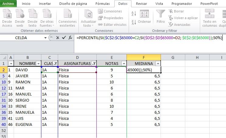 FUNCIONES MATRICIALES PARA OBTENER MEDIANA, MAX, MIN Y OTRAS FORMULAS1