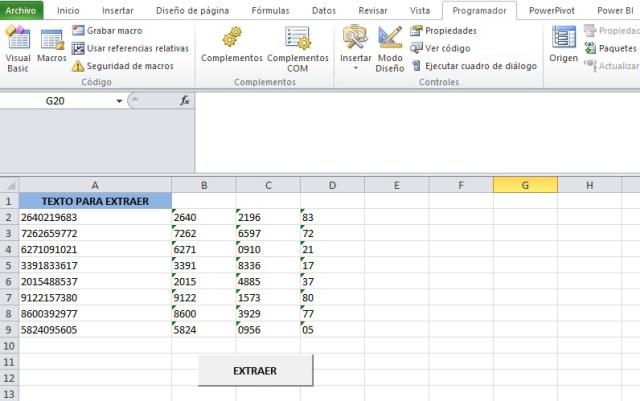 EXTRAER DATOS DE UNA CADENA DE TEXTO DE DOS EN DOS O MAS CARACTERES4
