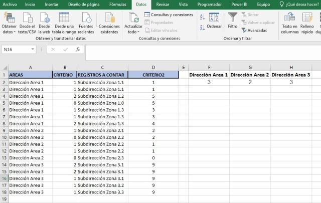 contar registros unicos con varios registros ii_