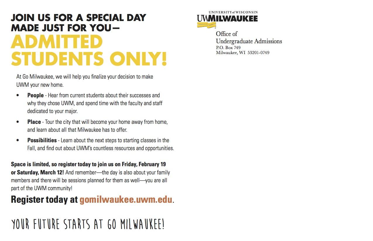 Go Milwaukee Mailer - Back