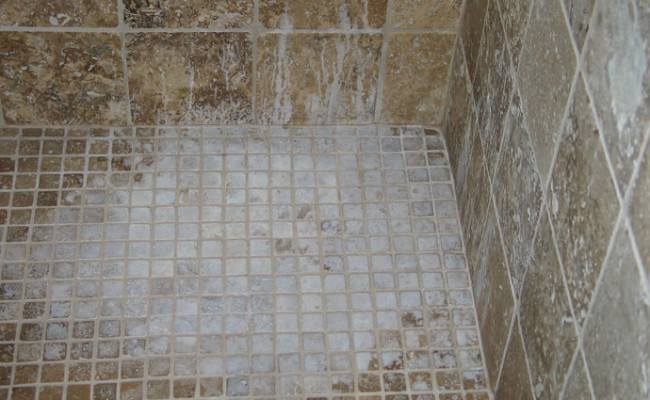 Chemically Damaged Travertine Treatment San Diego  Excel Stone and Tile Care