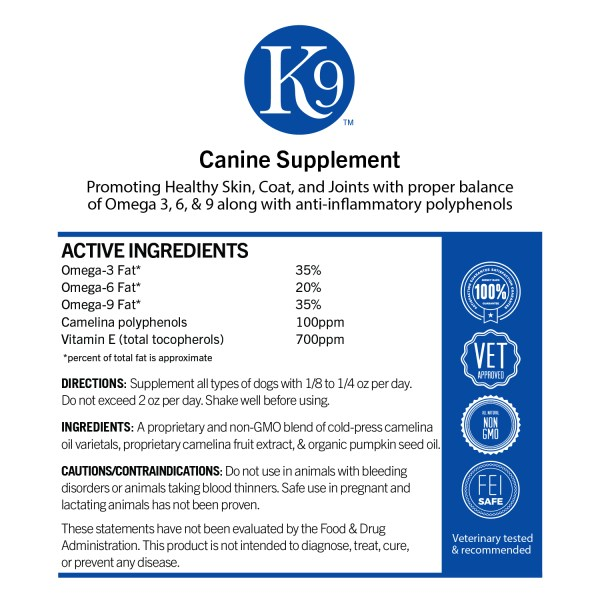 K9 Canine Supplement Label