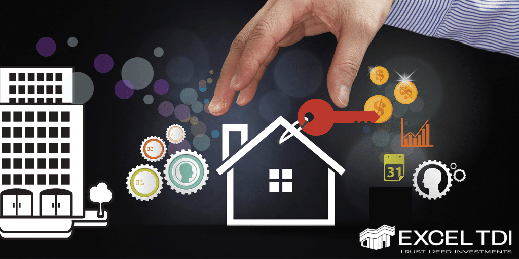 Hard money loan decorative graphic. Image of hard reaching for illustration of a house with a key attached