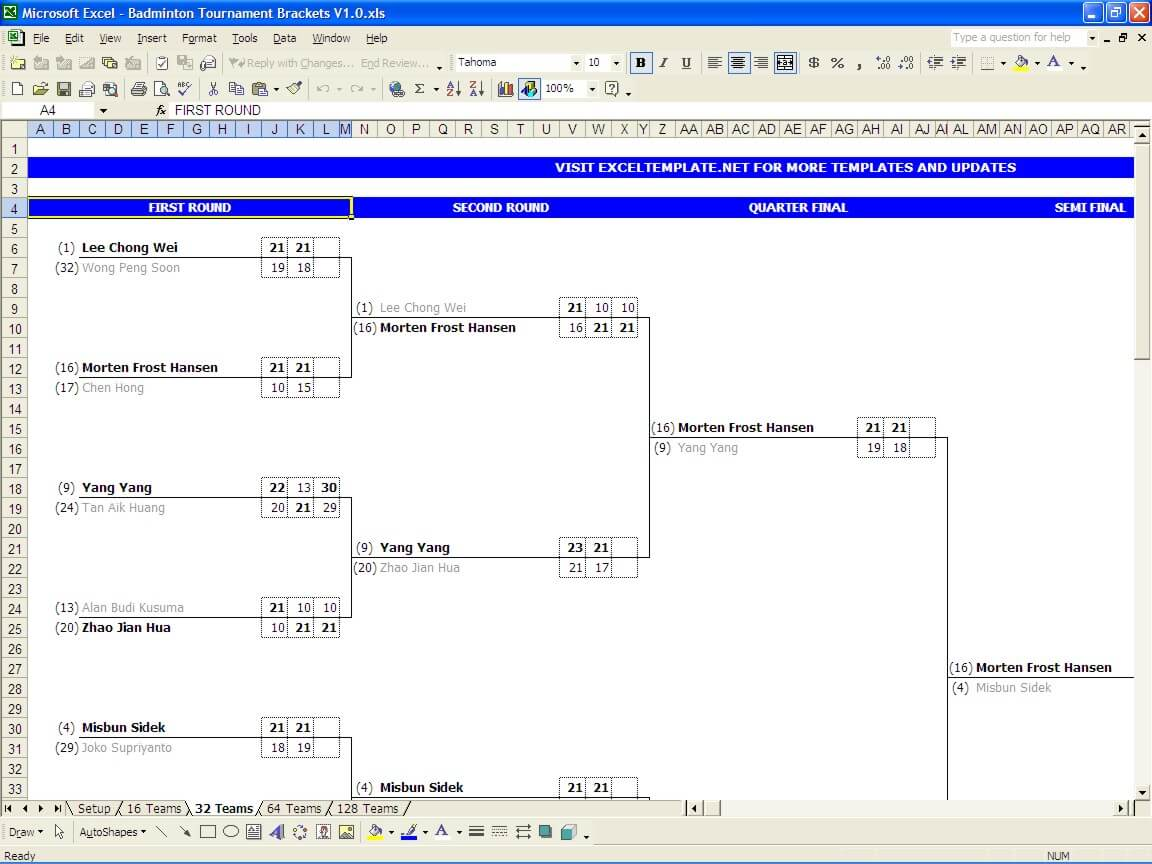 Badminton Tournament Bracket Template Exceltemplate