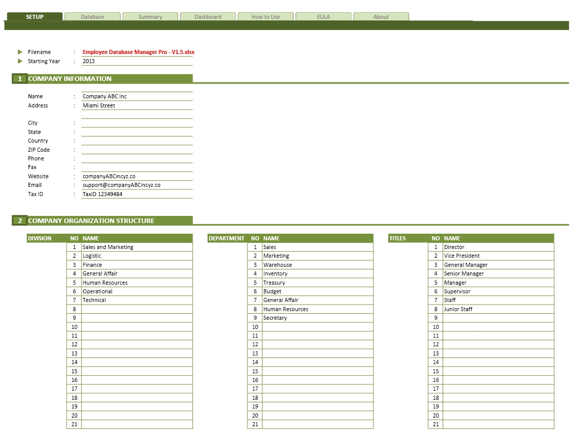 Employee Database Excel Template Exceltemplate