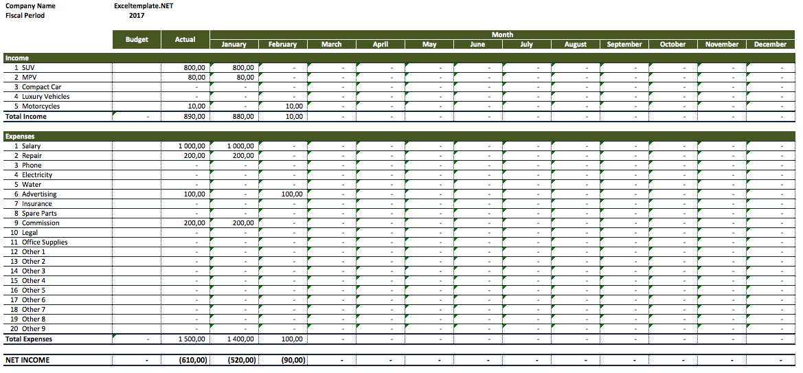 income expenses spreadsheet template