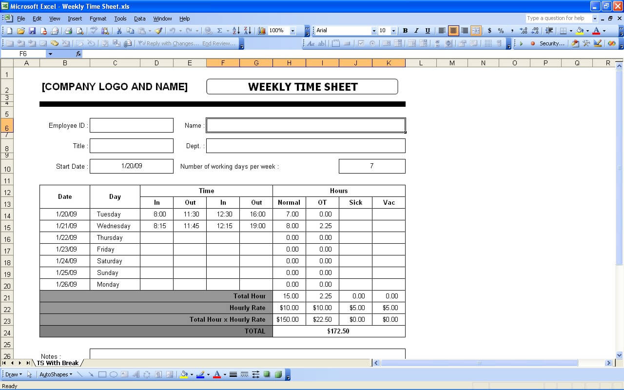 Simple Timesheet Exceltemplate
