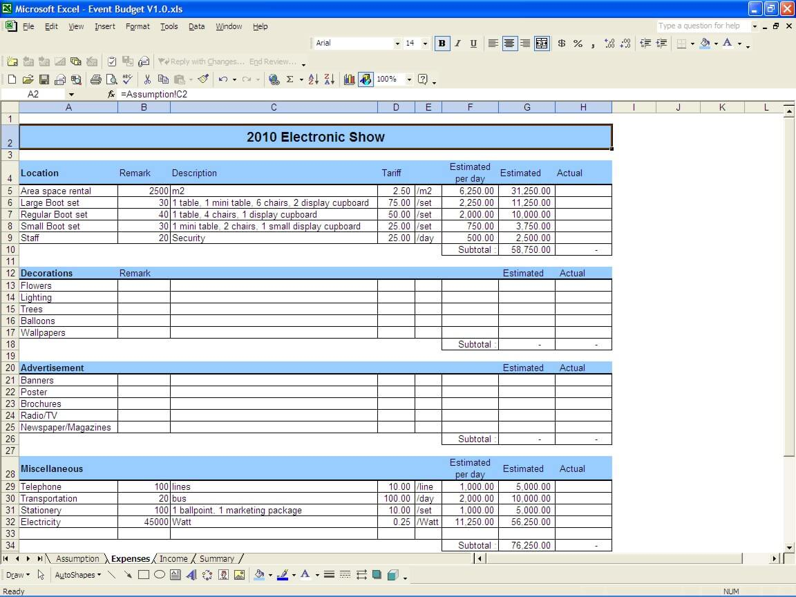 Blank Excel Worksheet