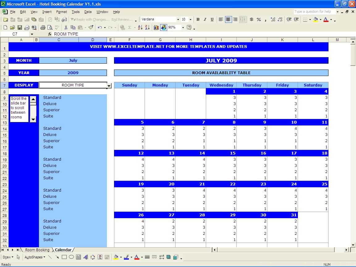 Booking And Reservation Calendar Exceltemplate