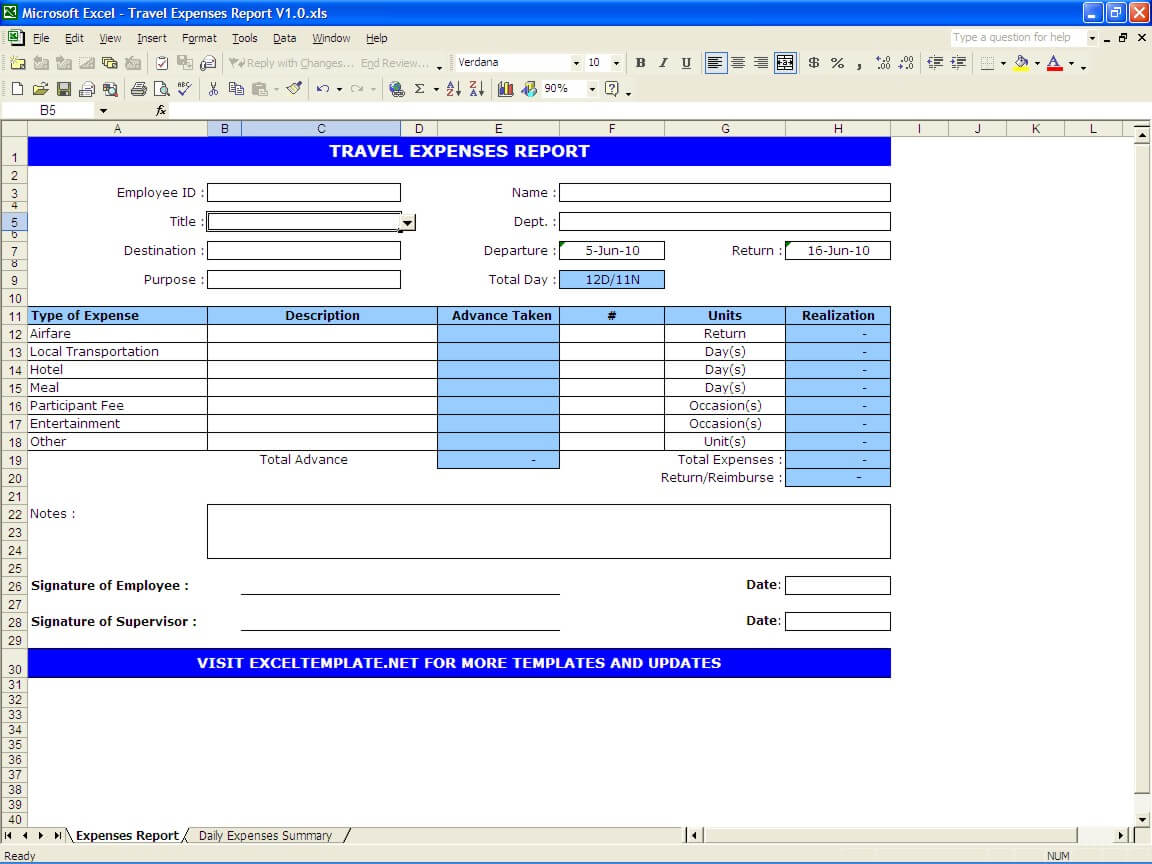Travel Expenses Report Exceltemplate