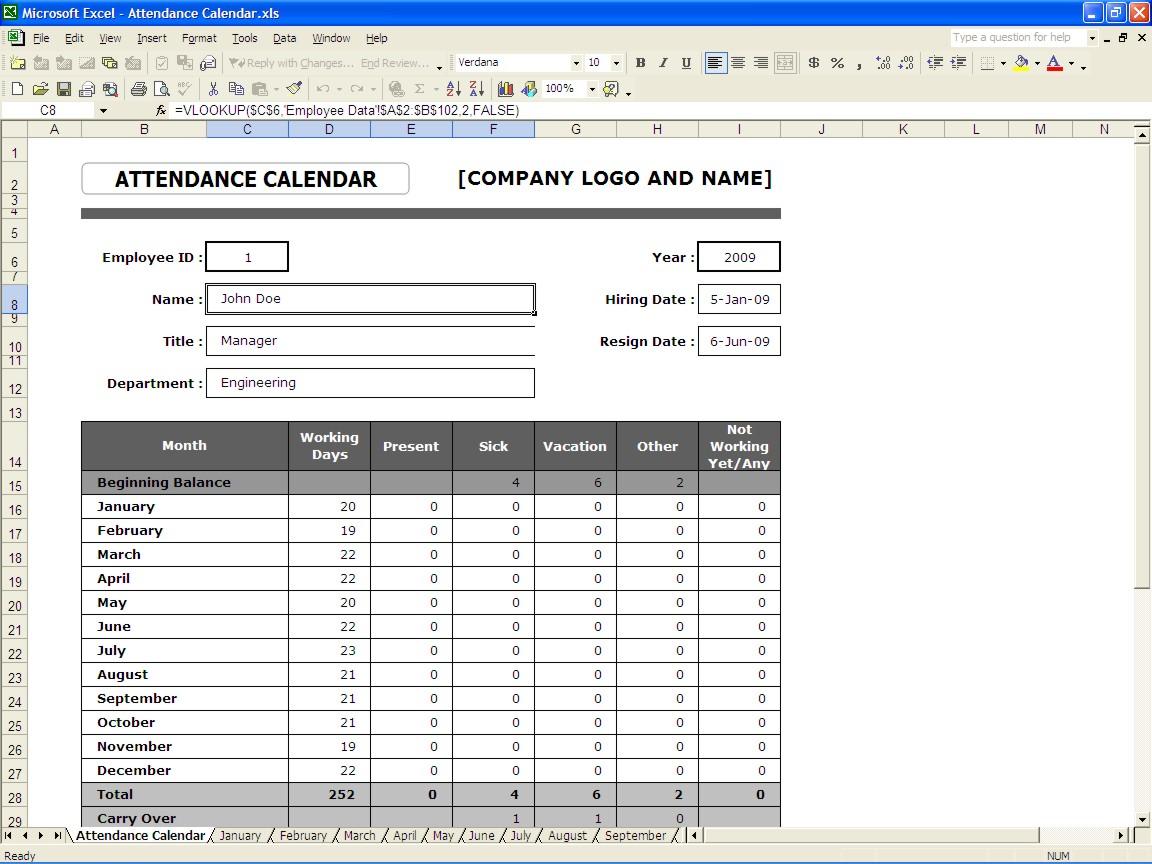 Yearly School Calendar · Attendance Calendar Template