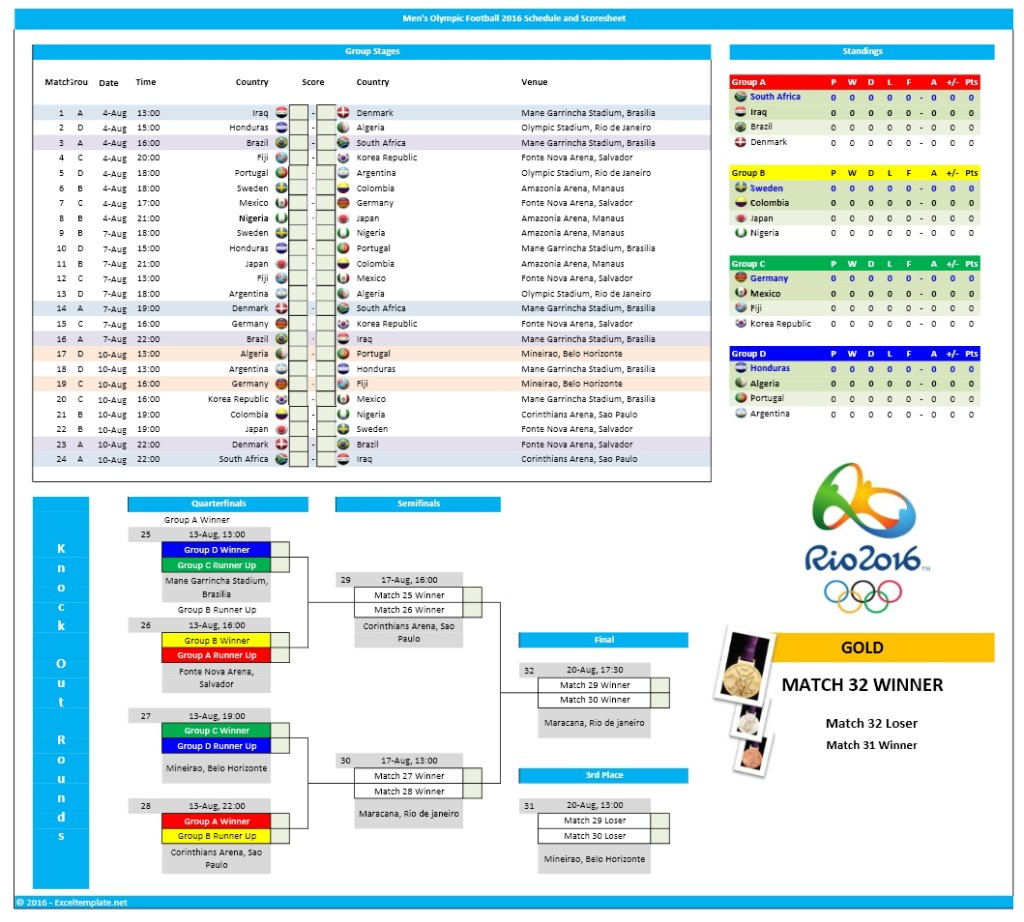 Men S Olympic Football Schedule And Office Pool Spreadsheet