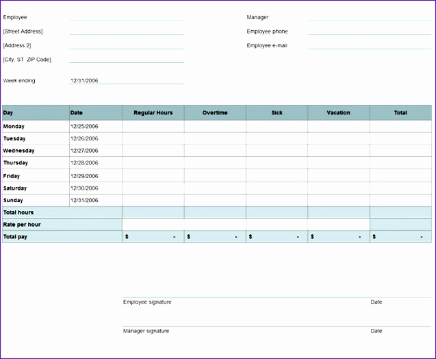 8 Timesheet Template Excel 2010  Exceltemplates