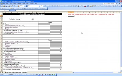 Cogs Worksheet Template For Excel