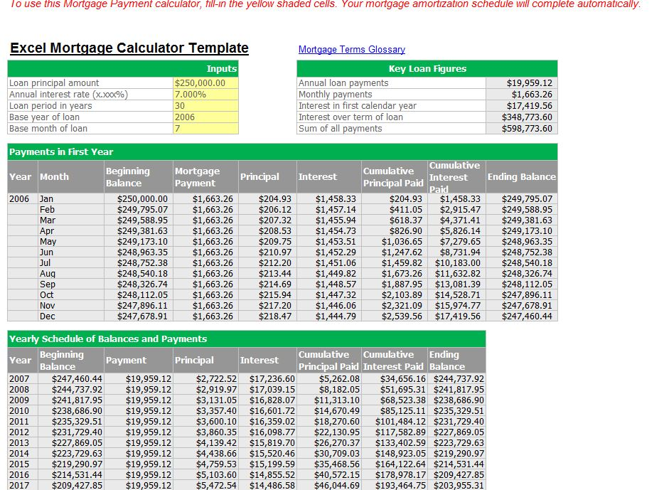 mortgage payment calculator excel