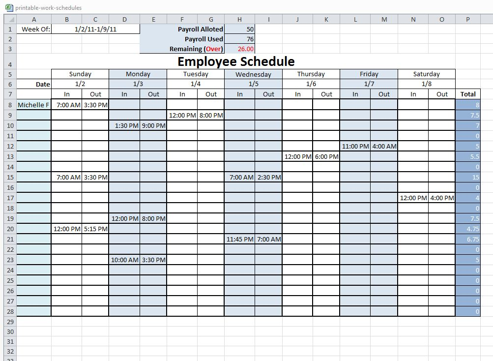 Moreover, employee work schedules are also based on the … Free Printable Work Schedule