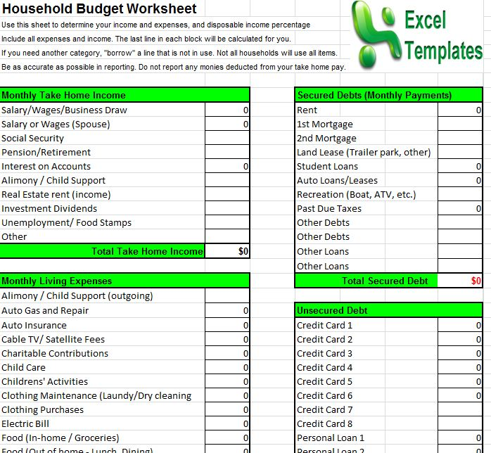 household budget template household