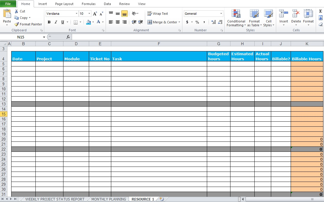 weekly report format in excel free download