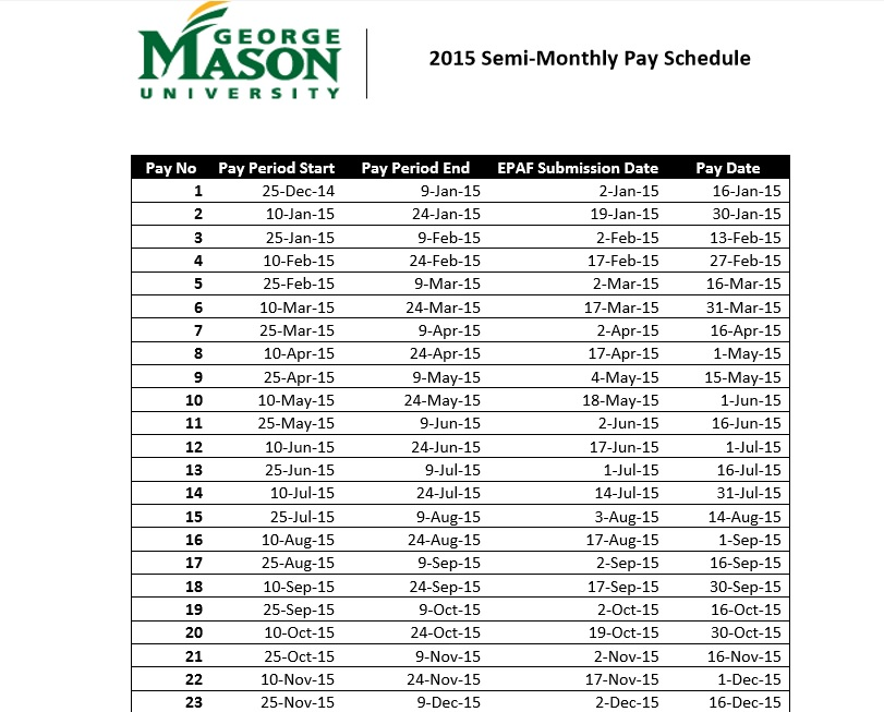 semi monthly payroll calendar 2017