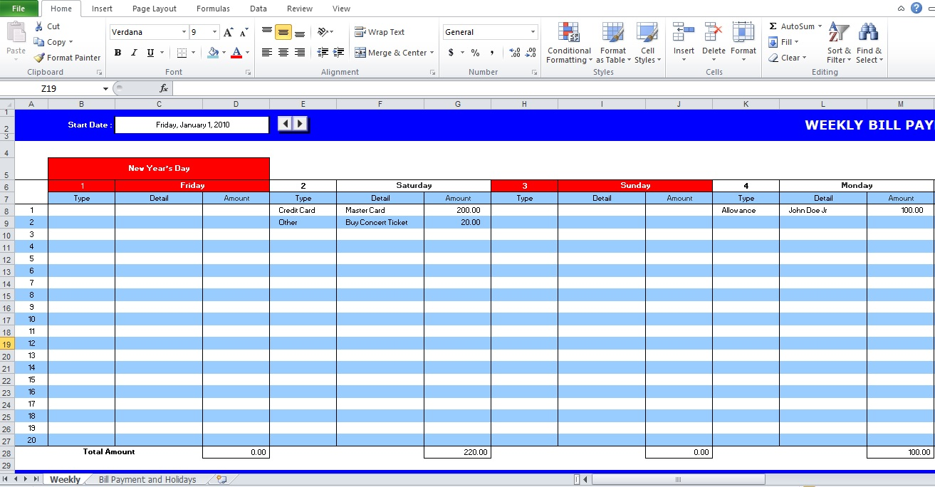 Weekly And Monthly Bill Payment Schedule Template Excel, Word (Doc) And Pdf