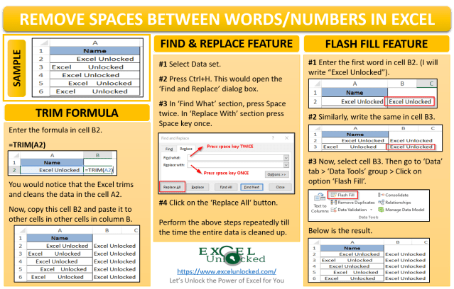 Remove Spaces Between Words and Numbers in Excel  Excel Unlocked