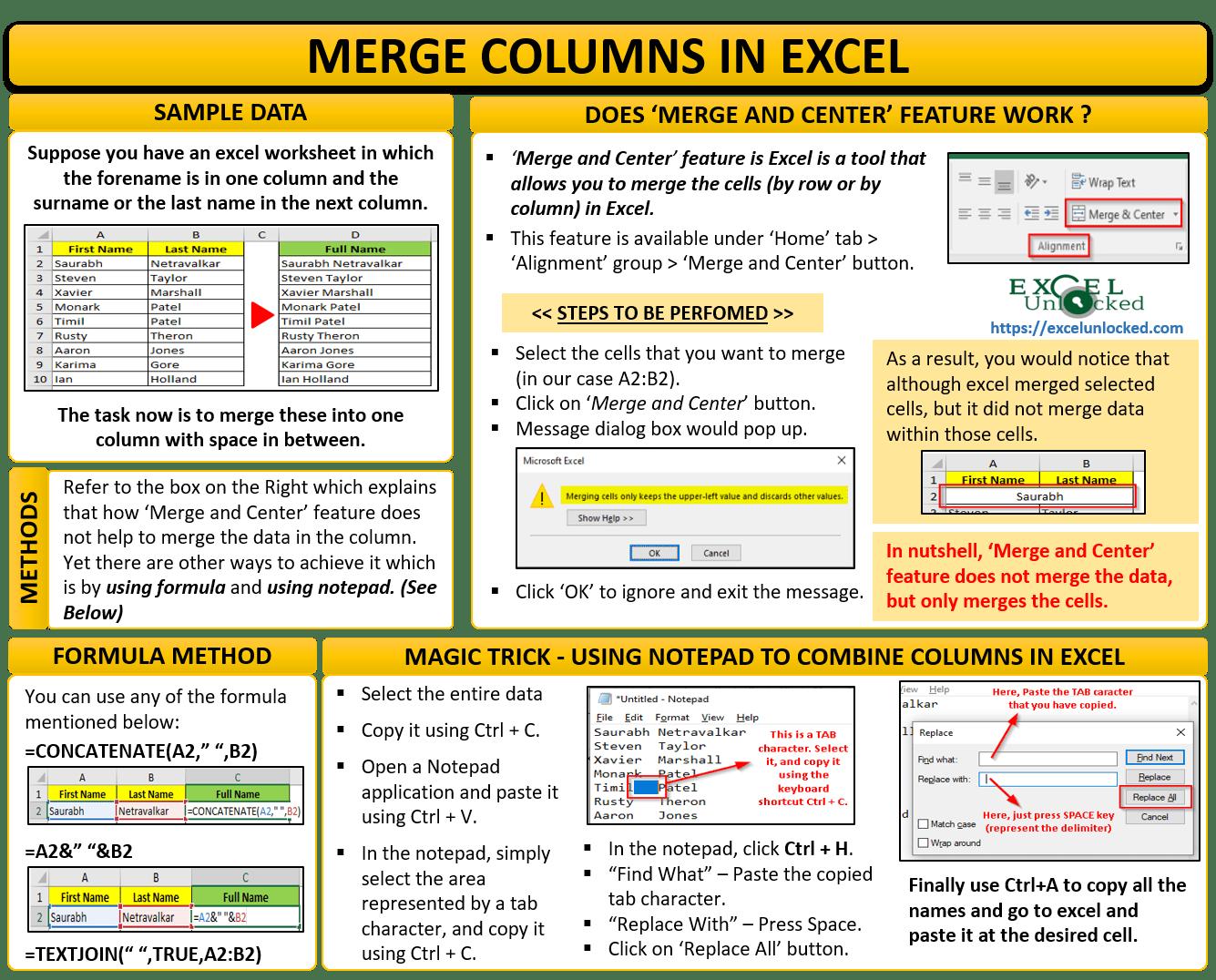Multiple Ways To Merge Columns In Excel