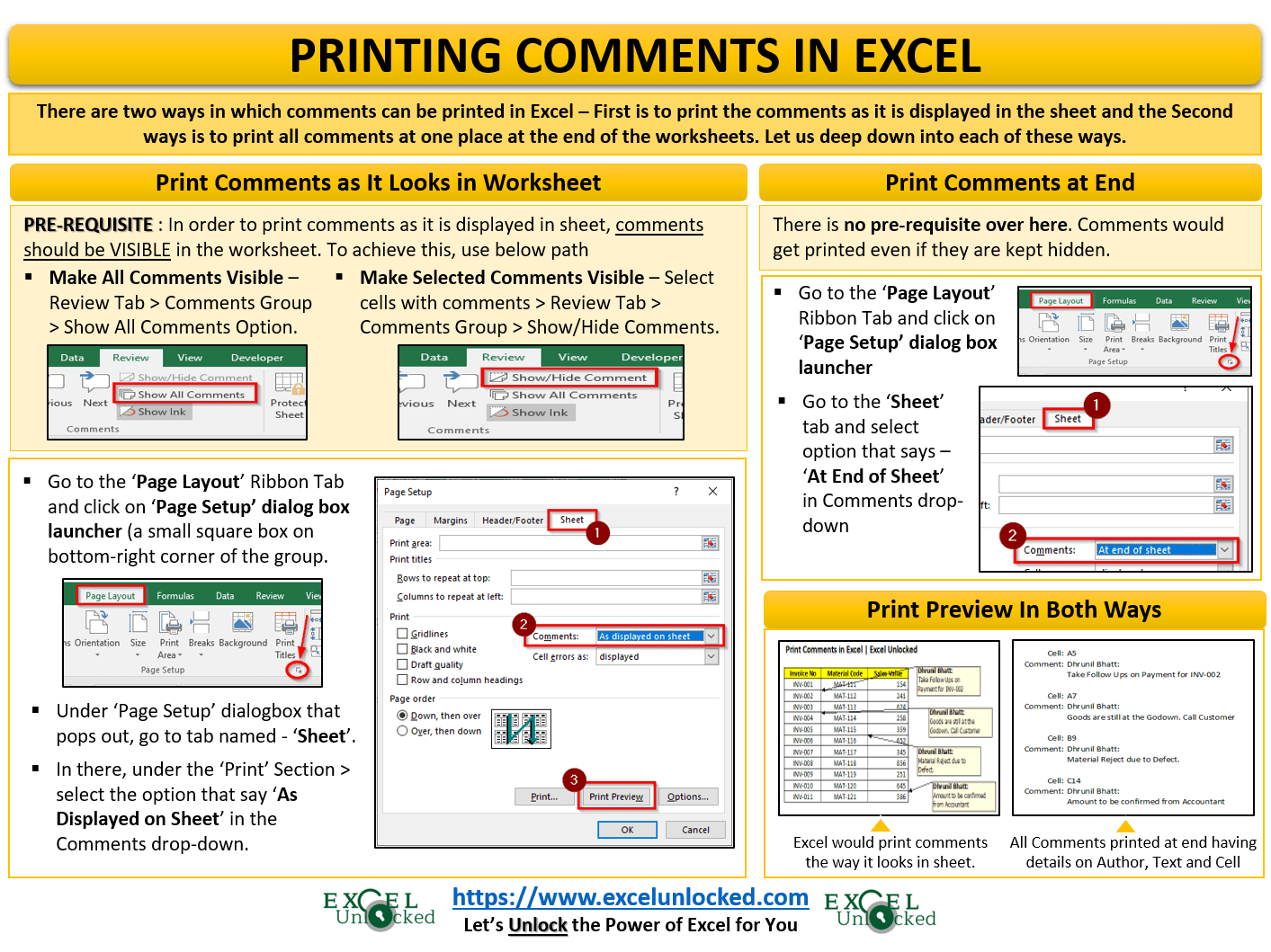 Printing Comments In Excel