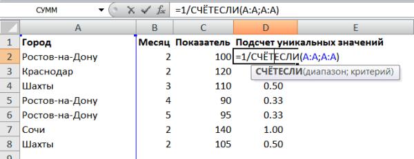 Подсчет уникальных значений5