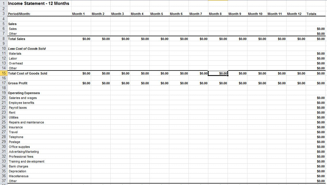 Income Statement Template Excel Income Statement Template