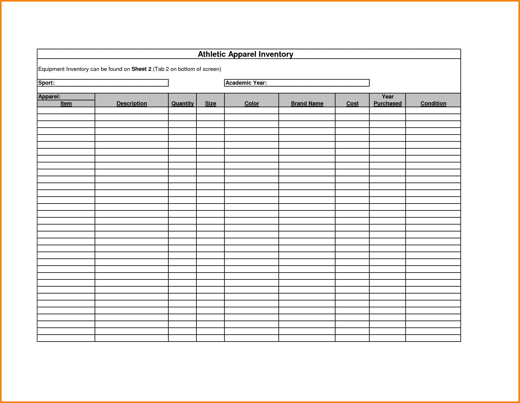 Free Printable Inventory Sheets 1