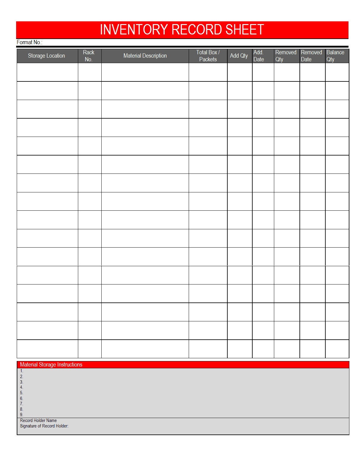 Equipment Inventory Template Inventory Spreadsheet