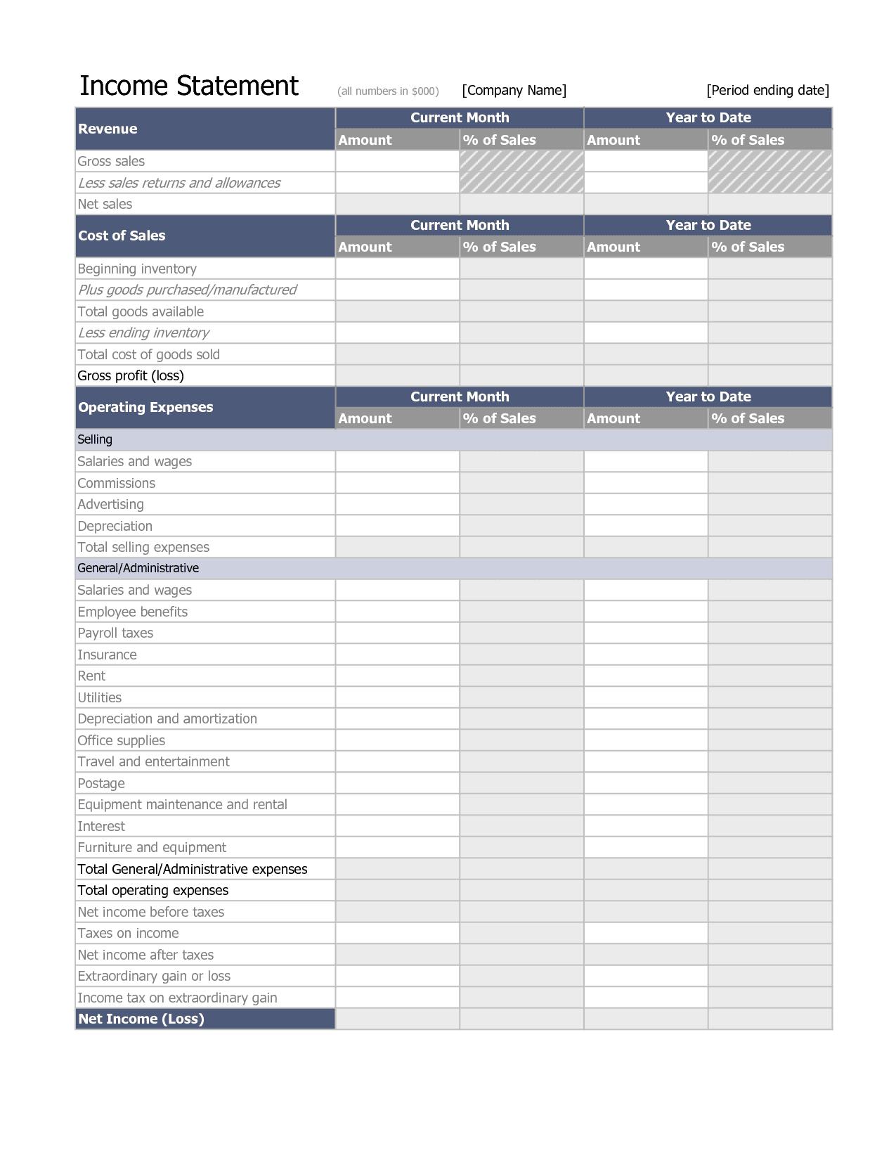 Income Statement Worksheet