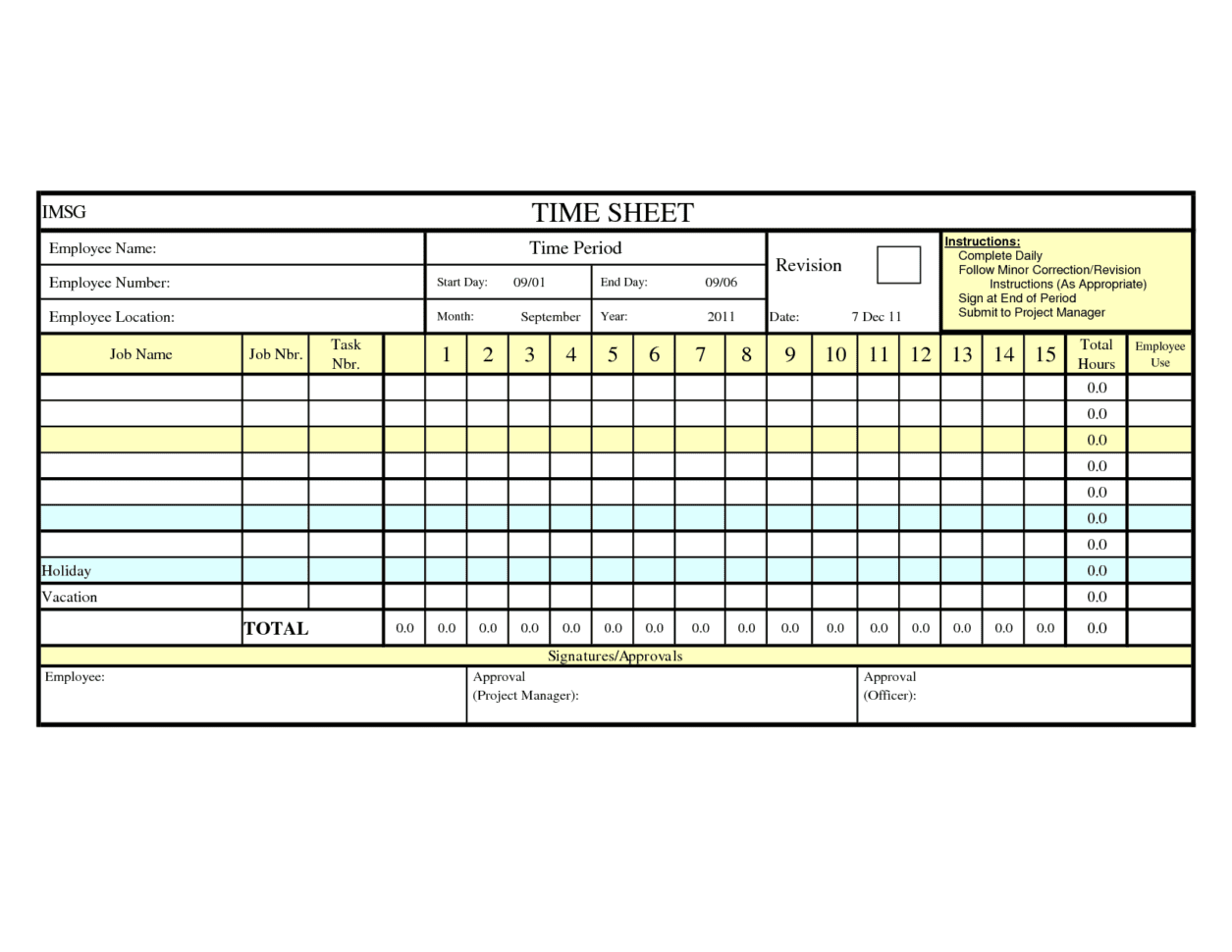 Worksheet Excel Daily Time
