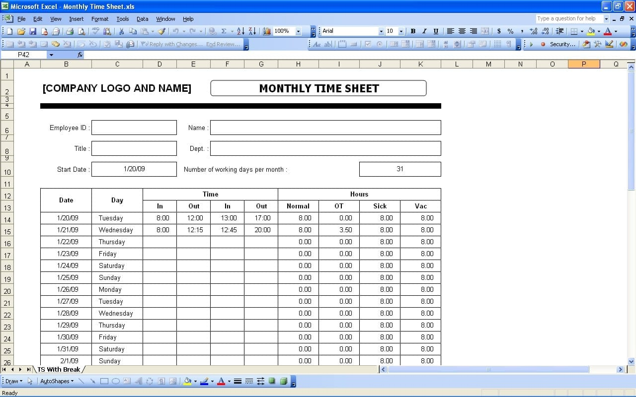 Simple Timesheet Template Time Spreadsheet Template