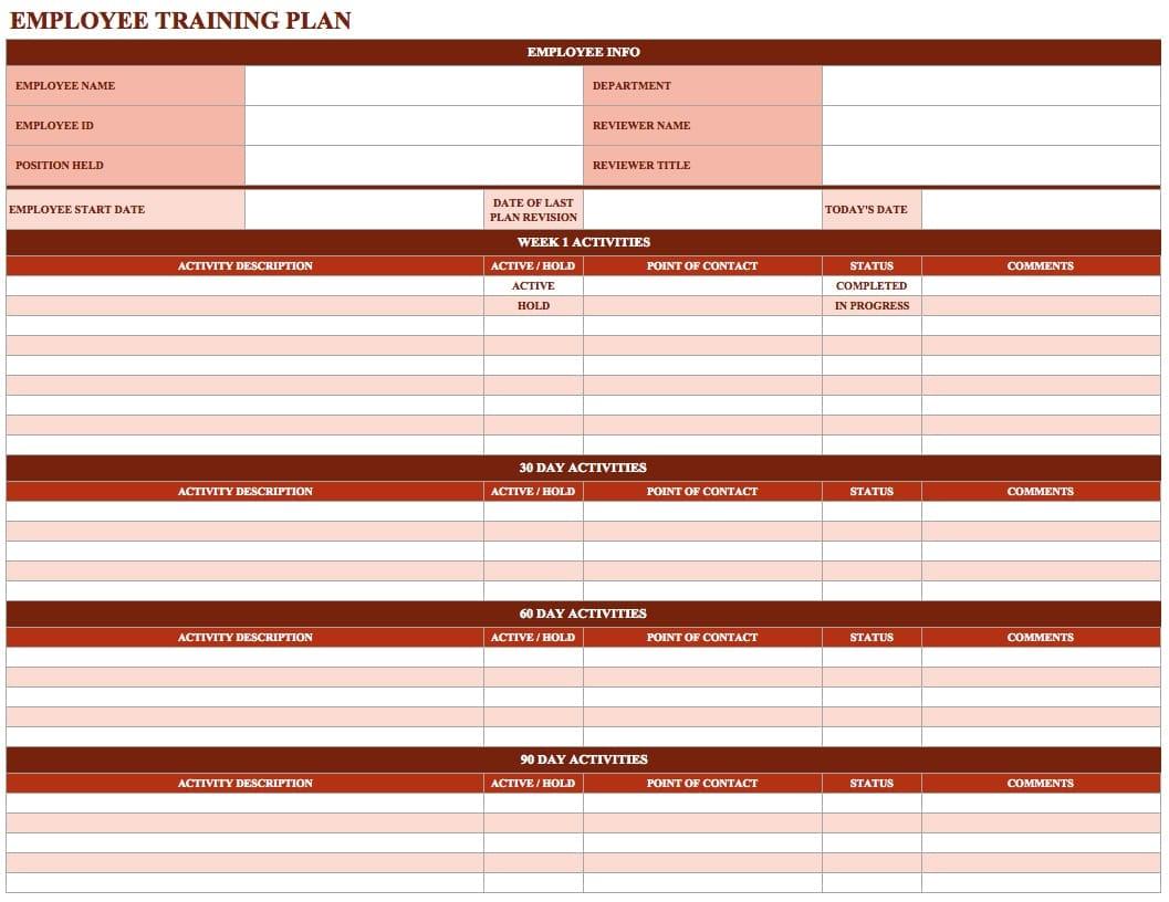 Training Spreadsheet Template Training Spreadsheet