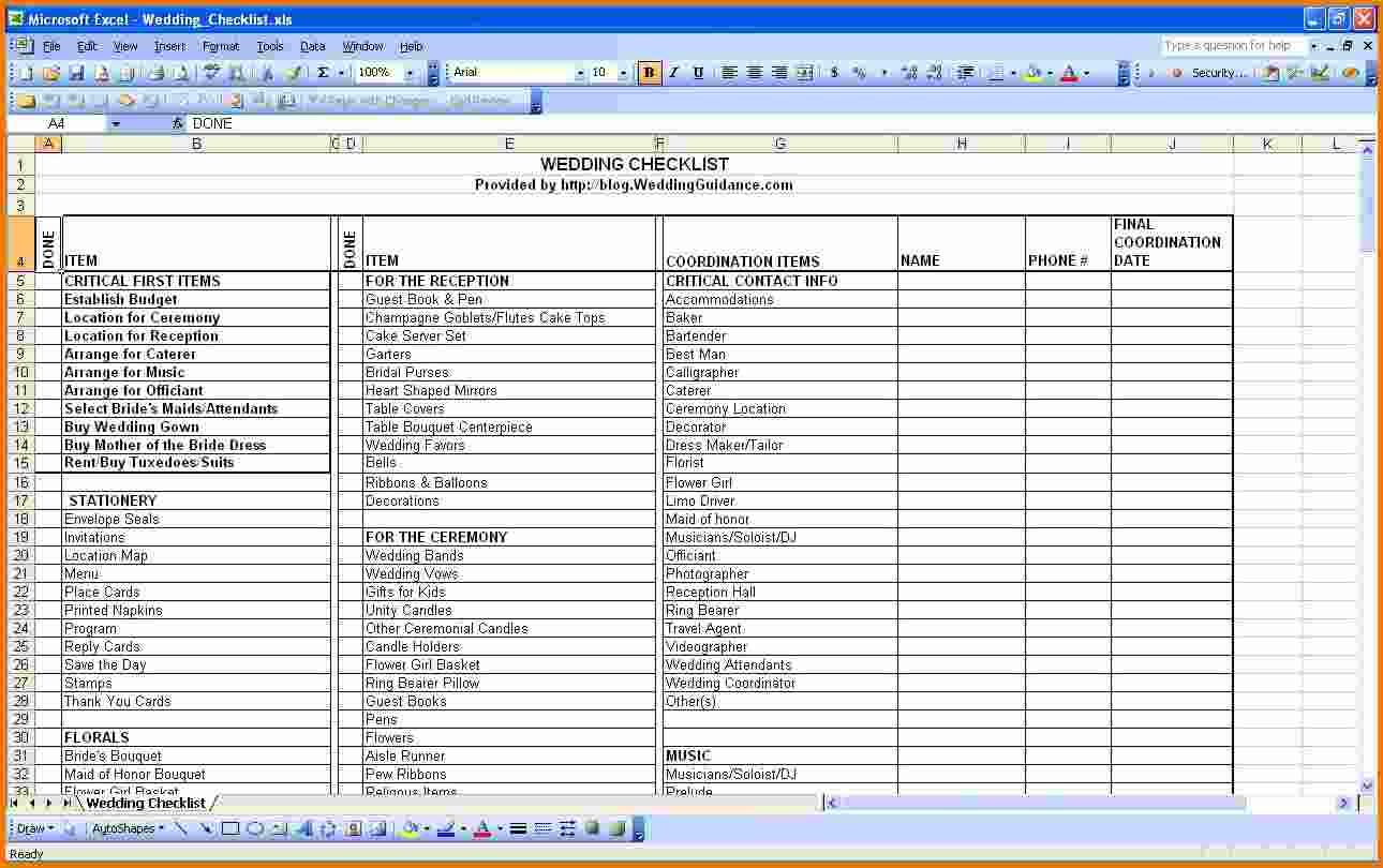 Wedding Spreadsheet Template