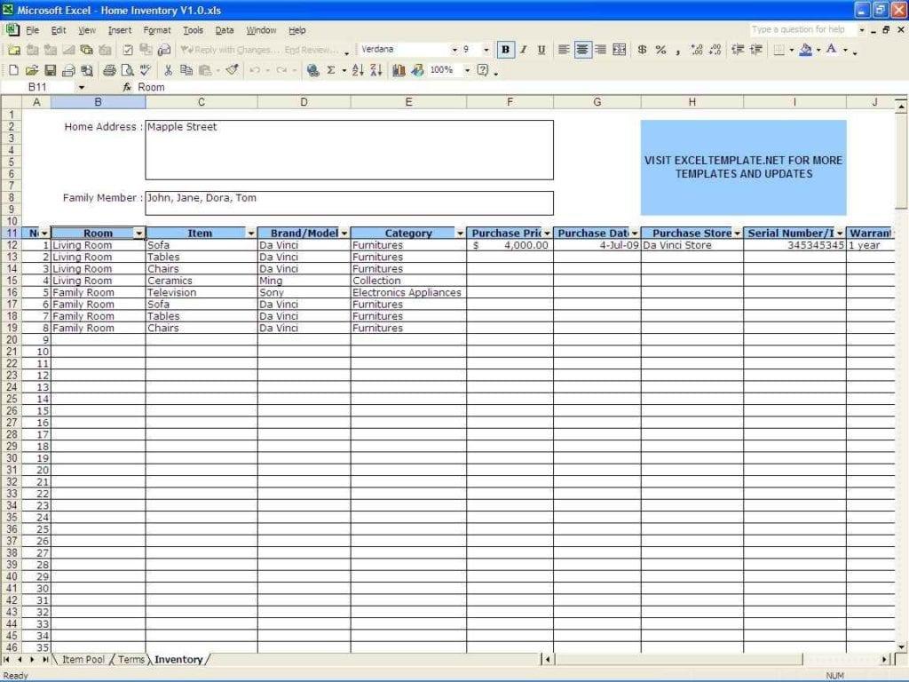 Sample Inventory Spreadsheet