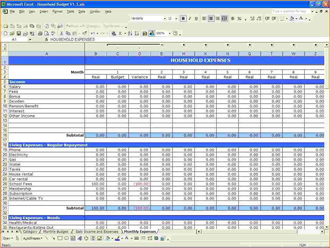 Budget Spreadsheet Excel Budget Spreadshee Household Budget Template Excel Excel Monthly Budget