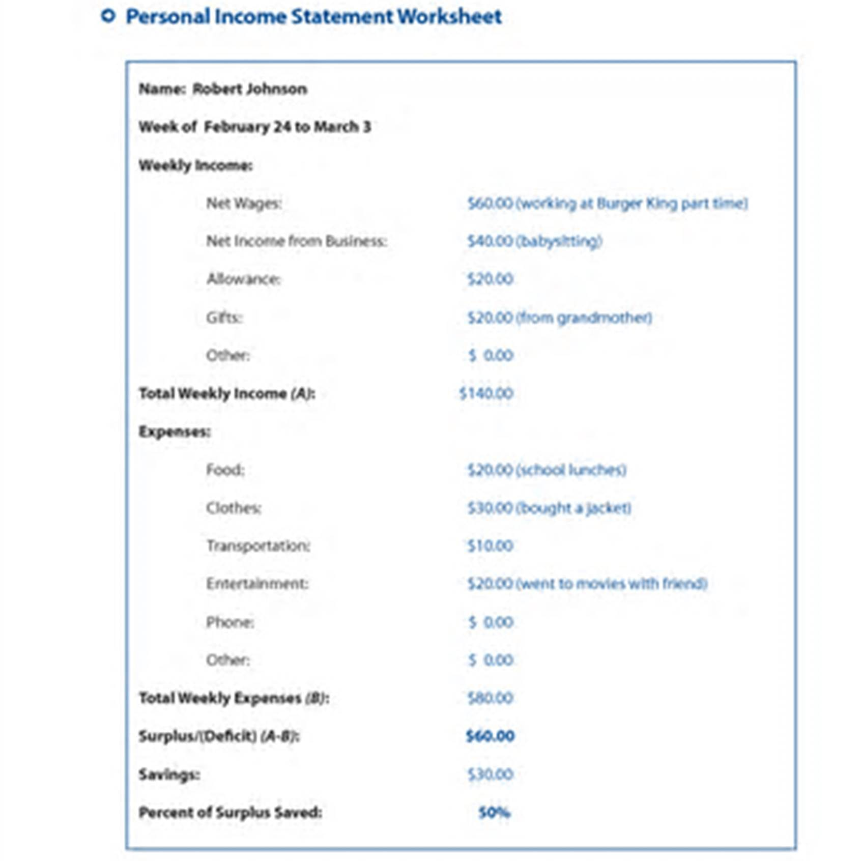 Income Statement Worksheet Template