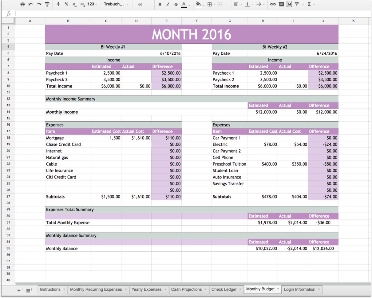 Monthly Financial Planning Spreadsheet Templates For