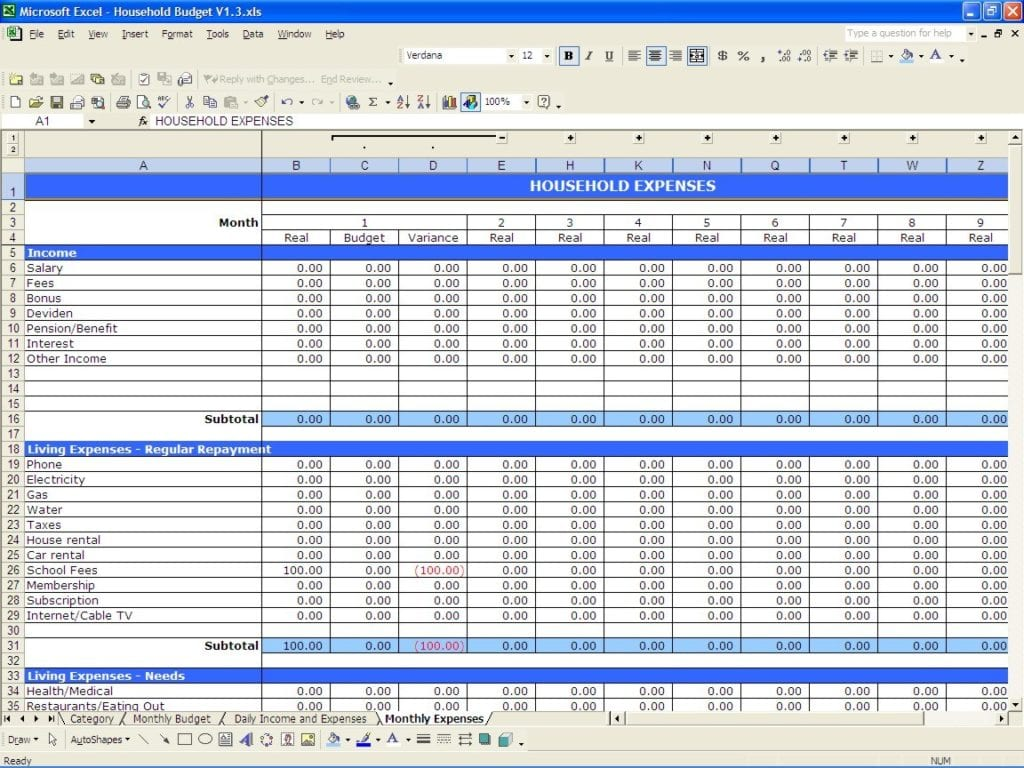 Excel Expenses Template Uk
