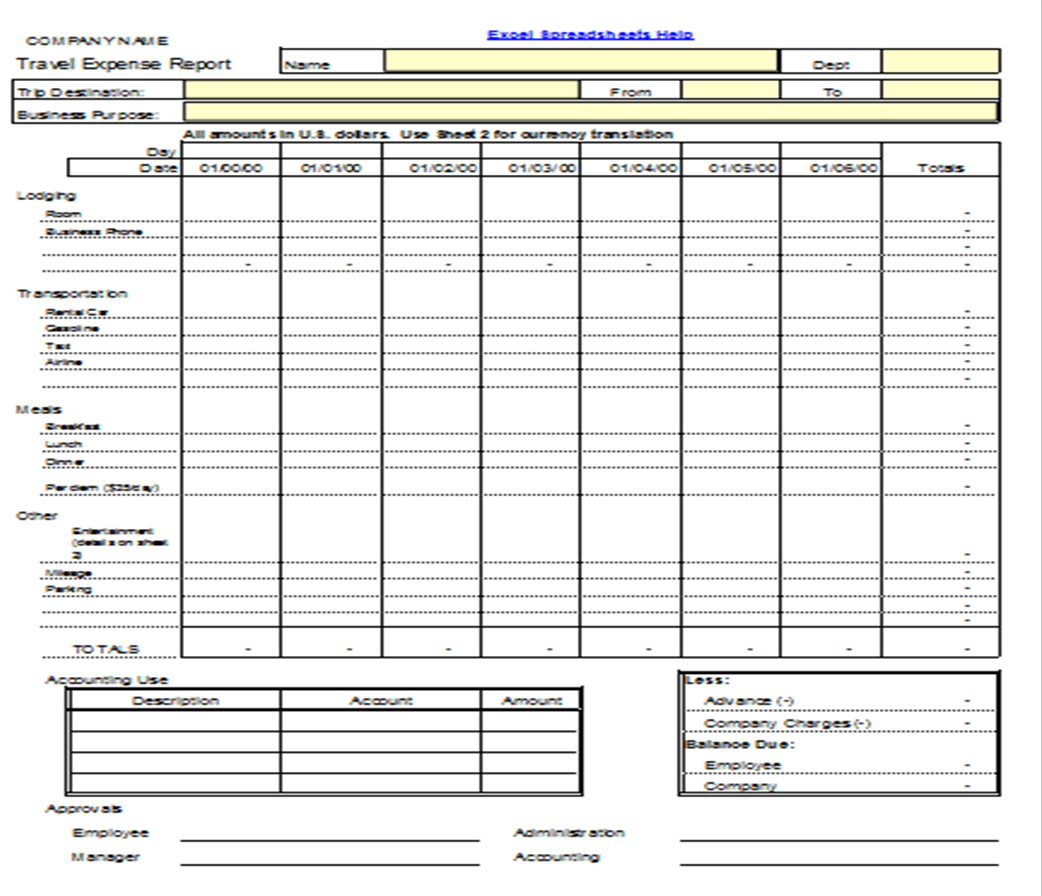 Excel Expense Form