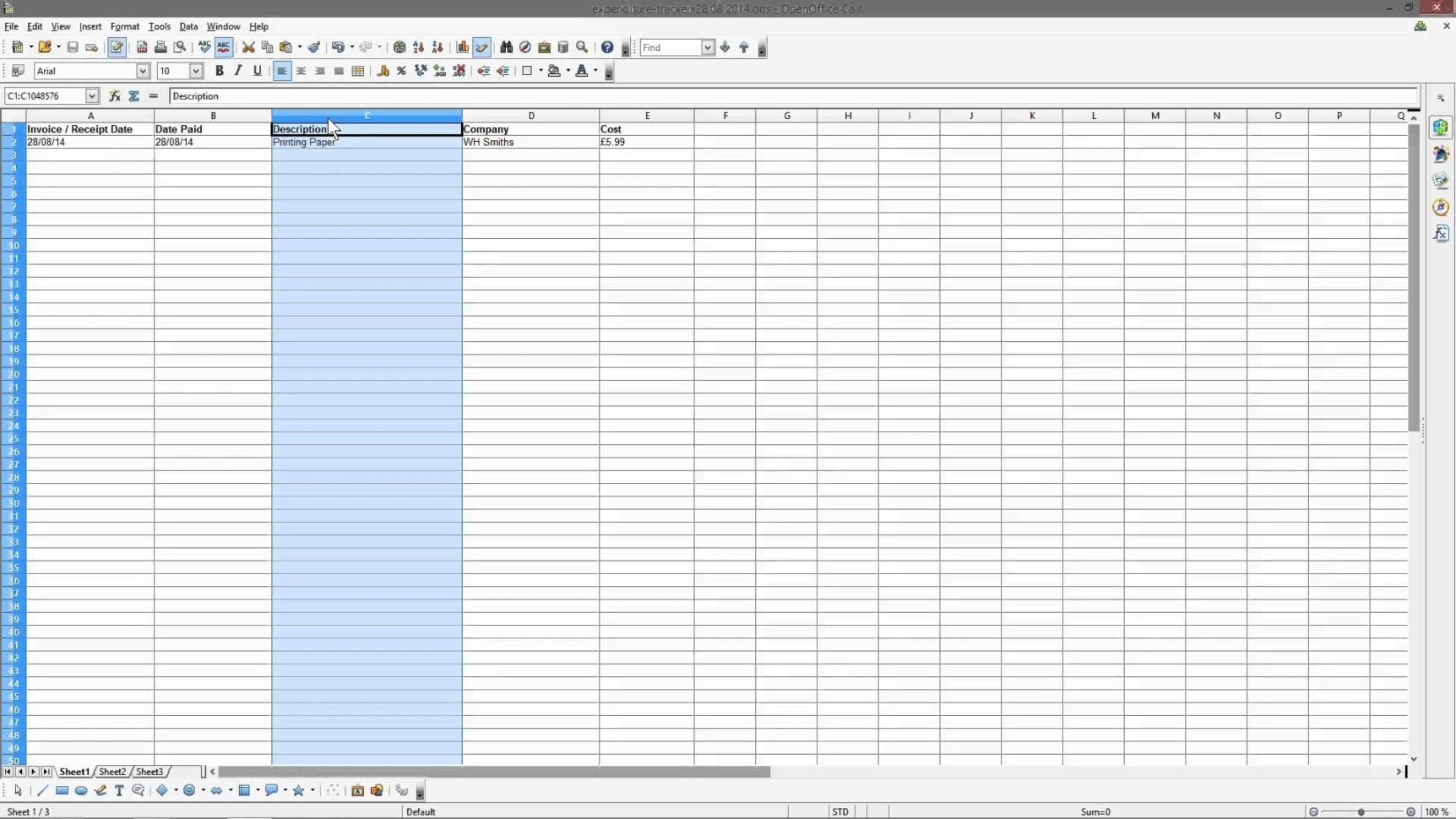 Business Spreadsheet Of Expenses And Income Accounting