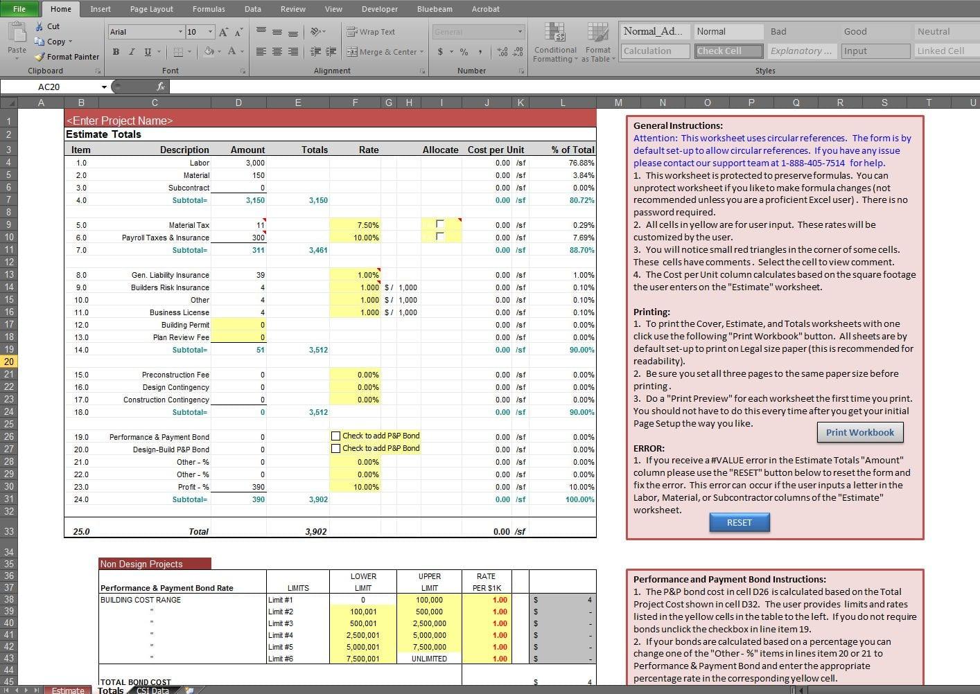 Estimate Spreadsheet Template