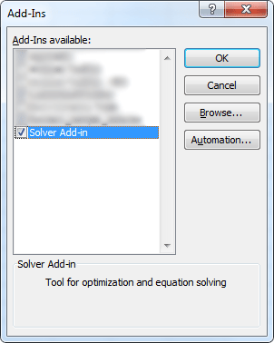 Solver Add-In Menu