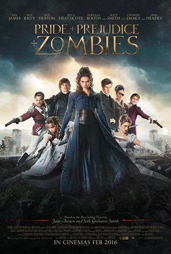 Image of the movie poster for Pride and Prejudice and Zombies.