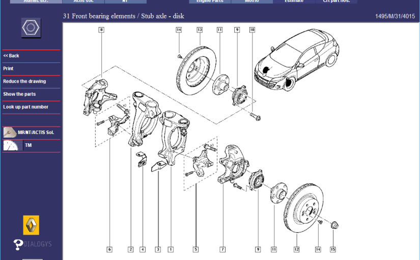 Renault Megane RS265 Front Suspension – Parts Diagrams 2