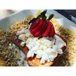 The #GoatsonToast #Breakfast with a #GlutenFree substitute from the normal #CherryLoaf.  #Foodporn #Instagood #igersrockhampton #Instafood #instafoodie #Rockhampton #Queensland #VisitCapricorn #BlueTruffleGourmetDeli #GoatCheese #StrawberryonTop